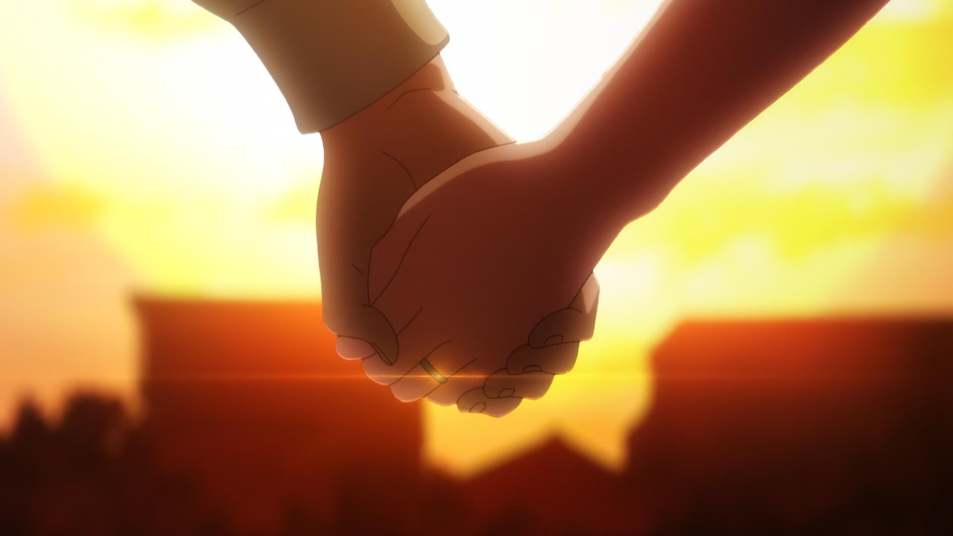 Tsukasa y Nasa se dan la mano después de comprar un par de anillos