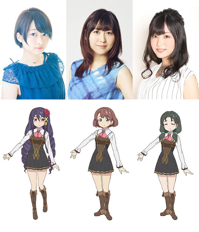 A character visual of the Wonder Three - Marcela, Monika, and Aureana - and their respective voice actresses - Maki Kawase, Kiyono Yasuno, and Hisako Tojo.