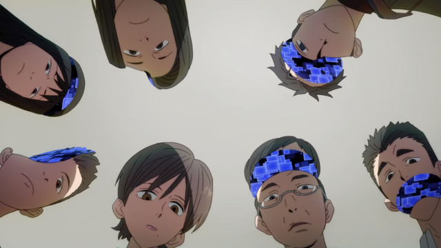 A group of strangely pixelated people examine a virtual corpse in the ID: INVADED TV anime.