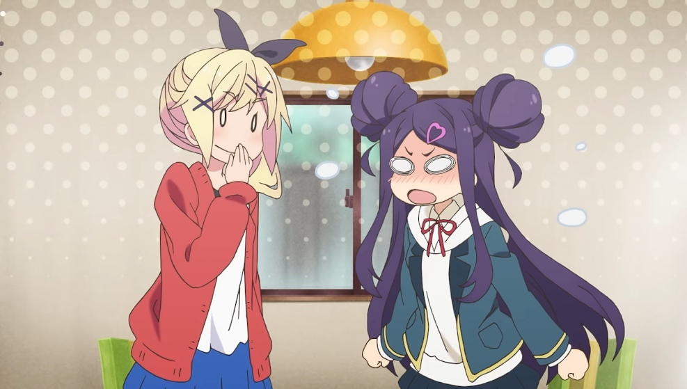 Former musician Hayu Nukui needles former child actor Roko Sekino in a scene from the upcoming Dropout Idol Fruit Tart TV anime.