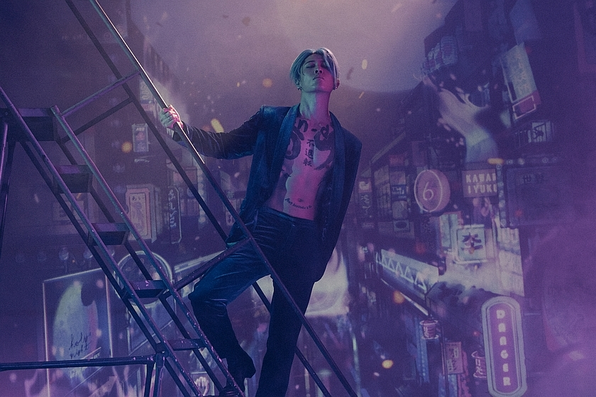A promotional image of the musician known as MIYAVI ascending a fire-escape in front of a chaotic cityscape.