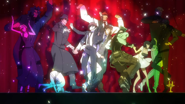 "The cast of Blood Blockade Battlefront dance in the fantastic ending animation. But are they also dancing because popular crime procedural comedy/drama ""Bones"" ran for 12 seasons?"