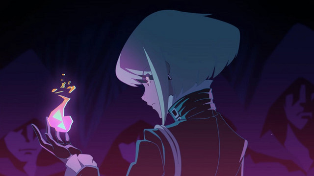 Lio Fiota conjures a spark of extra-dimensional flame in a scene from the 2019 PROMARE theatrical anime film.