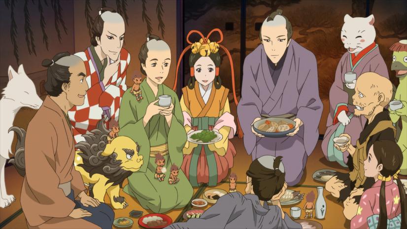 Un grupo amistoso de ayakashi se reúne con su maestro humano para comer en una escena del video de animación especial que celebra el 20 aniversario de la serie de novelas de fantasía Shabake de Megumi Hatakenaka.