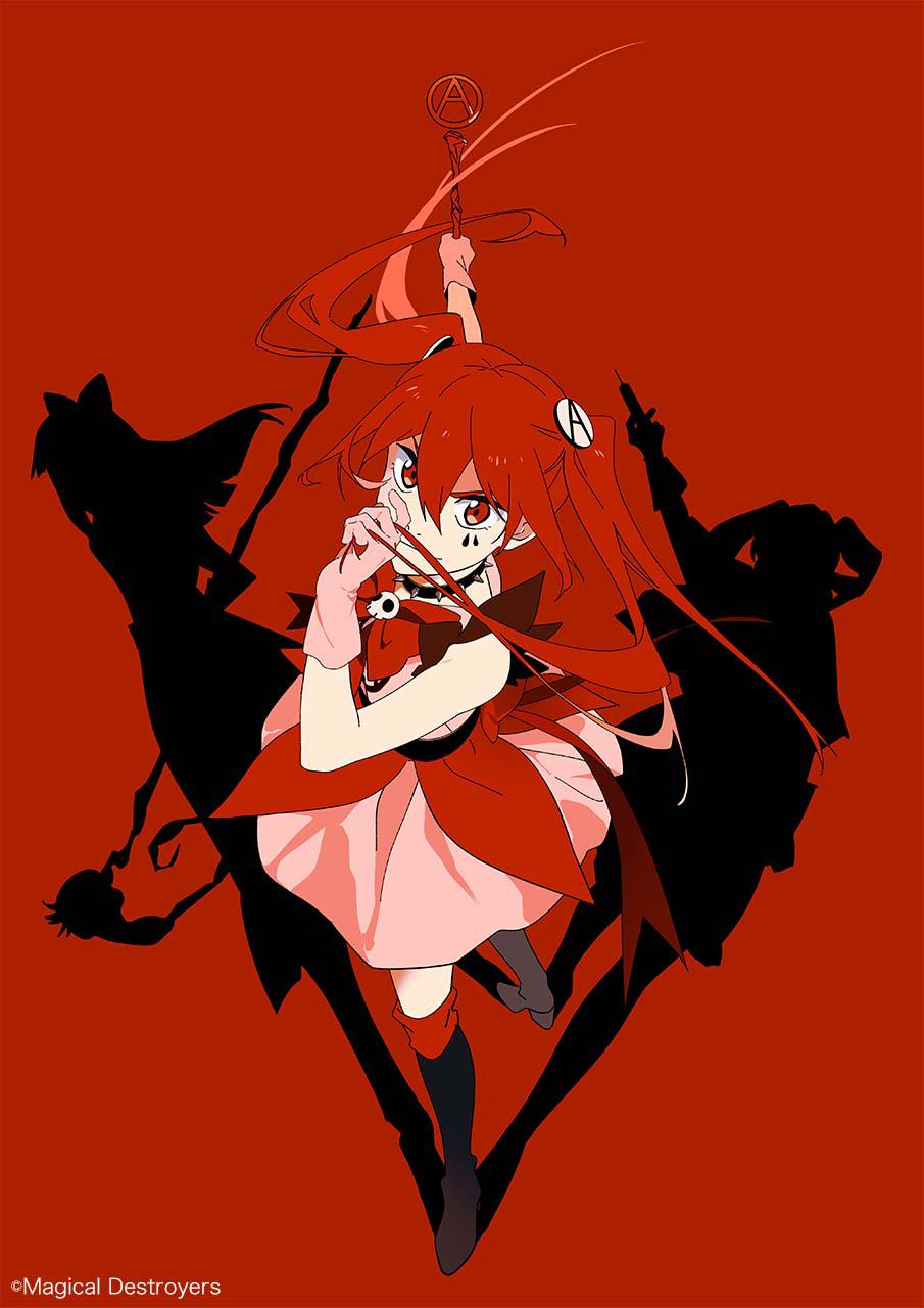 Una nueva imagen clave para el próximo proyecto de anime Magical Girl Destroyers, con el personaje principal, Anarchy, posando sobre un fondo rojo sangre mientras proyecta sombras en la forma de otras dos chicas mágicas no identificadas.
