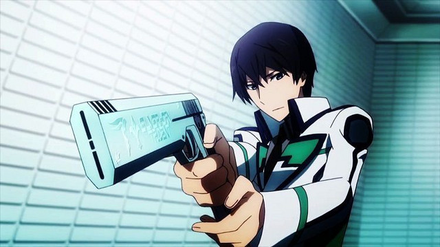 A screen capture from the first season of The Irregular at Magic High School TV anime, featuring main character Tatsuya Shiba wielding his custom CAD, the Silver Horn Trident.
