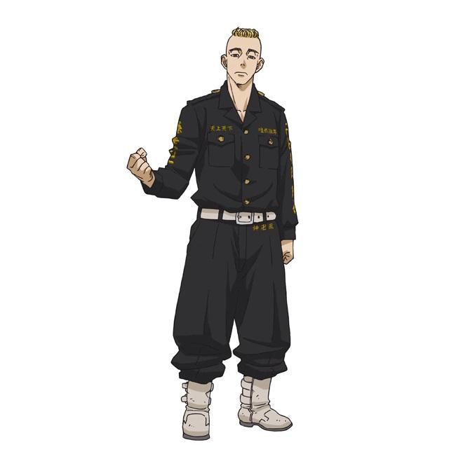 """Un escenario de personajes de Yasuhiro Muto, un delincuente con cabello rubio en un """"Mohicano"""" peinado del próximo anime de televisión Tokyo Revengers."""