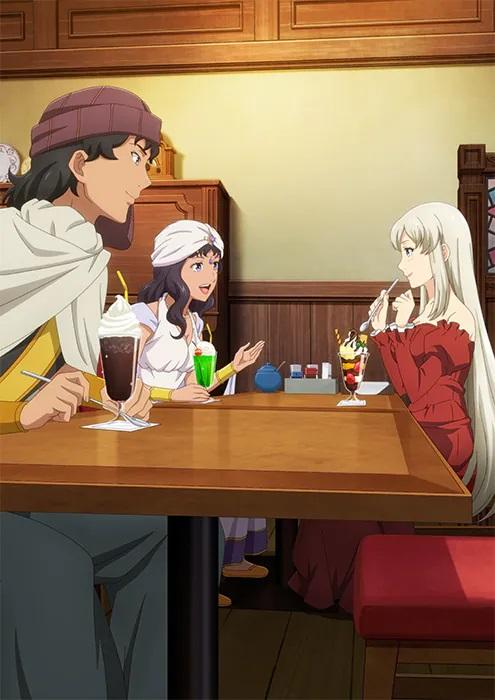 Una imagen clave para la segunda temporada del anime de televisión Restaurant to Another World, que presenta a los personajes de Shareef, Ranner y Adelheid disfrutando de la compañía del otro y compartiendo una ronda de postres helados y parfait en una mesa en el restaurante occidental Nekoya.