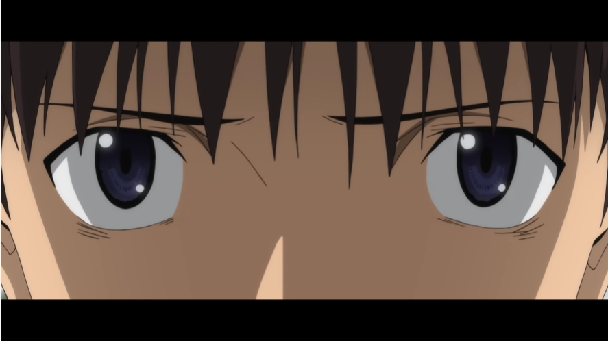 A close up of Shinji Ikari's eyes from the trailer for the upcoming EVANGELION: 3.0+1.0 THRICE UPON A TIME theatrical anime film.