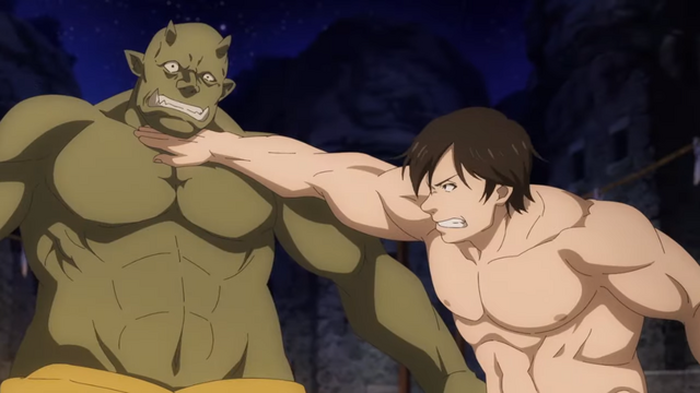 Pro-wrestler Genzo Shibata delivers a throat-chop to an ogre in the Rise Up! Animal Road TV anime.