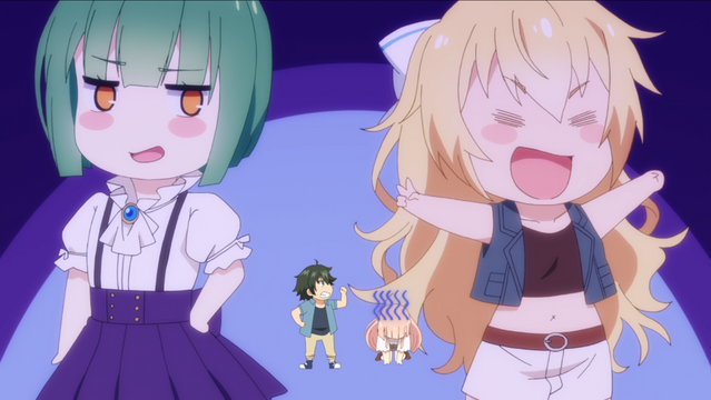 Giant-sized chibi images of Phantom and Eagle surround Kei and Gripen in a humorous scene from the Girly Air Force TV anime.