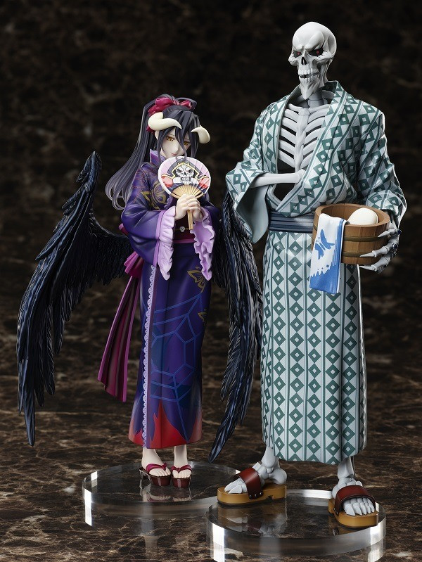 A promotional image of FuRyu's Overlord 1/8 scale yukata figures, featuring Albedo and Ainz Ooal Gown in their summer kimonos.