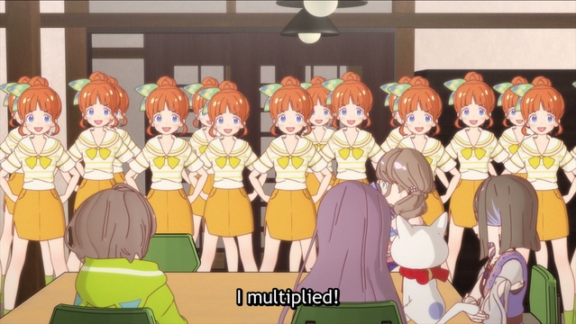 Tae Hongo discovers the shadow clone technique in a scene from HIMOTE HOUSE: A share house of super psychic girls.