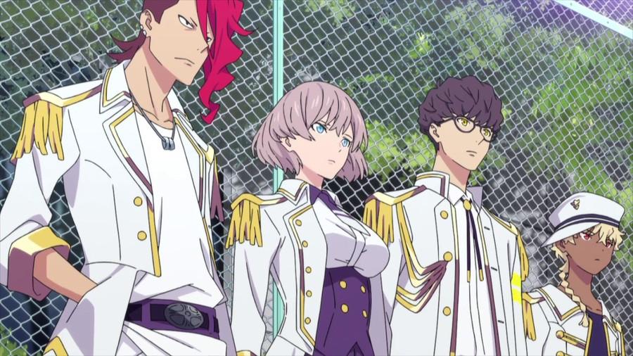 Onija, Mujina, Juuga y Sizumu adoptan una pose intimidante frente a una cerca de alambre en una escena del anime de televisión SSSS.DYNAZENON.