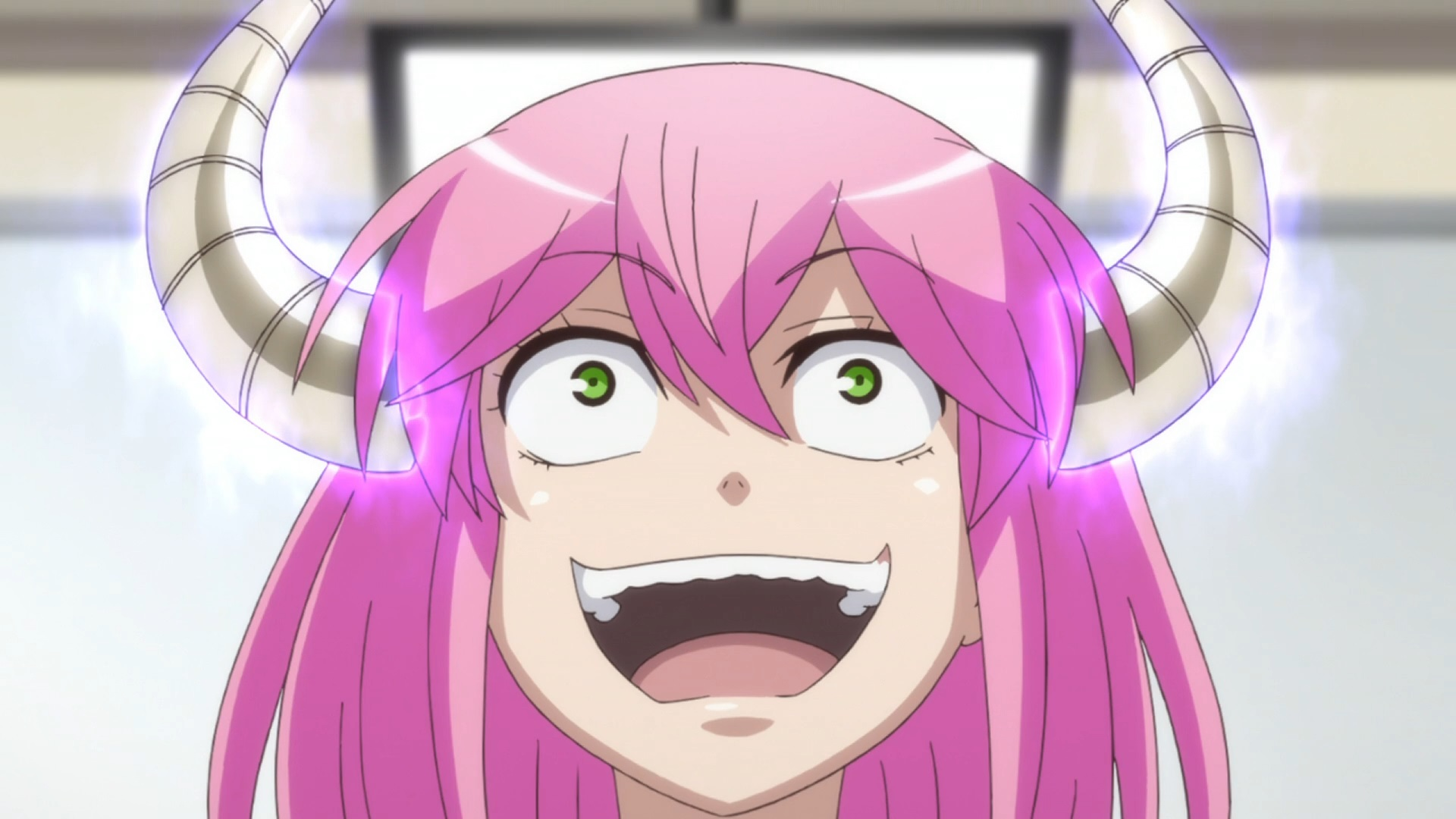 Akane Koumoto, a tiny but powerful demon posing as a high school principal, laughs maniacally in a scene from the Actually, I Am. TV anime.