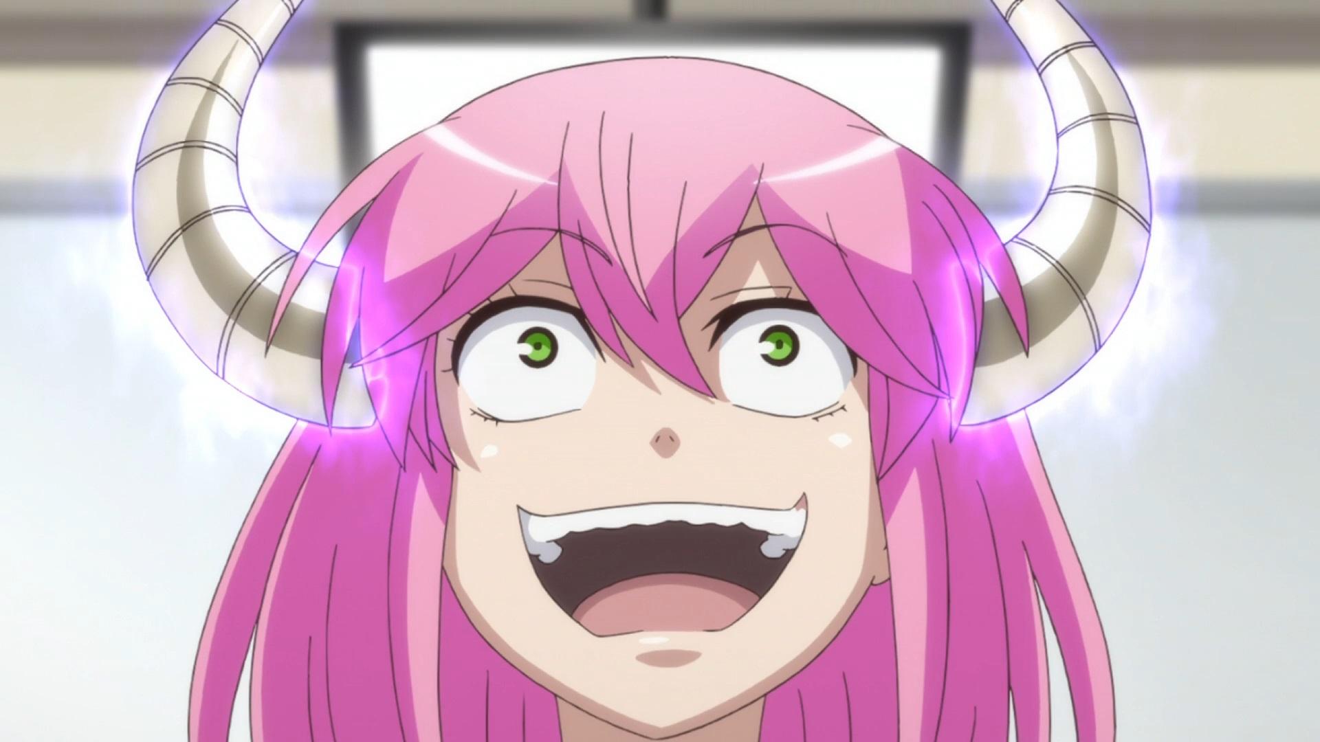 Akane Koumoto, un demonio diminuto pero poderoso que se hace pasar por el director de una escuela secundaria, se ríe maniáticamente en una escena de Actually, I Am.  Anime de TV.