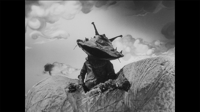 """A screen capture from the 4K restoration of the """"Kanegon's Cocoon"""" episode of the 1966 tokusatsu TV series, Ultra Q."""
