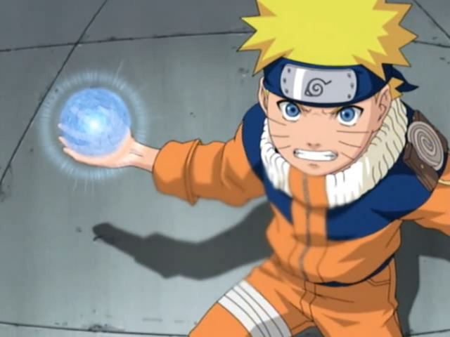 Naruto prepares to unleash a devastating Rasengan in his fight with Sasuke on the hospital roof.
