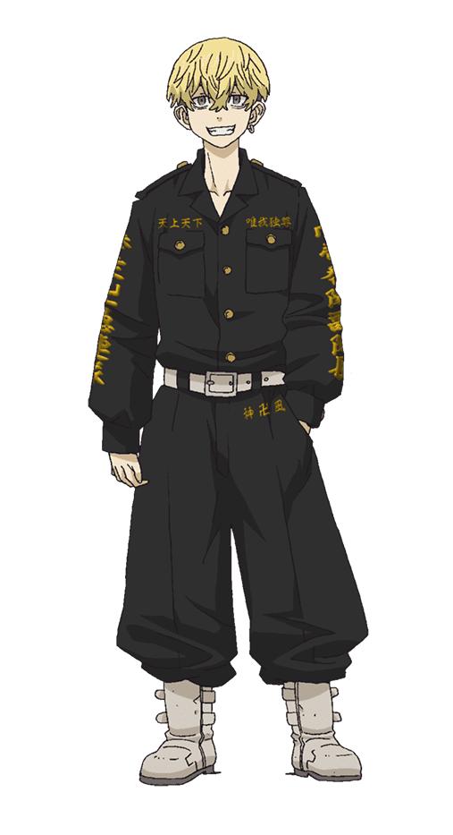 """Un escenario de personajes de Chifuyu Matsuno del anime de televisión Tokyo Revengers.  Chifuyu aparece como un joven de baja estatura con cabello rubio descolorido y desgreñado y una sonrisa viciosa.  El esta vestido de negro """"ropa de suicidio"""" con ribete kanji amarillo y un par de botas de motociclista."""