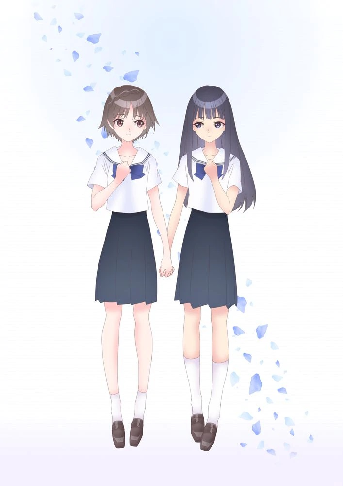 Una imagen teaser para el próximo anime BLUE REFLFECTION RAY / Mio TV, con los personajes principales Hiori Hirahara y Ruka Hanari, un par de chicas de secundaria, tomados de la mano.