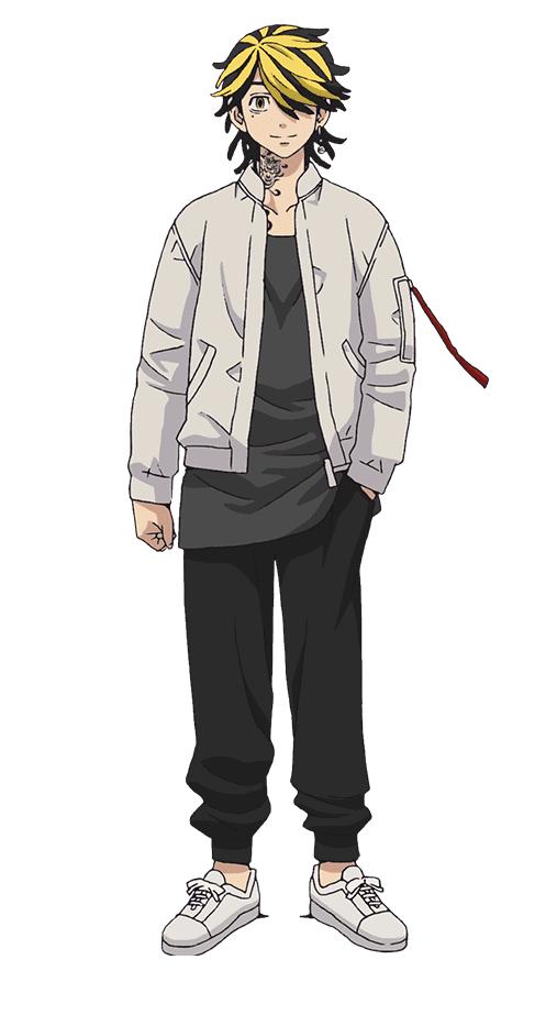 Un escenario de personajes de Kazutora Hanemiya del anime de televisión Tokyo Revengers.  Kazutora aparece como un hombre joven con el cabello recogido en mechones con reflejos rubios decolorados y un tatuaje prominente en el cuello.  Viste ropa casual: chaqueta blanca, camiseta negra, pantalón negro y tenis blancos.
