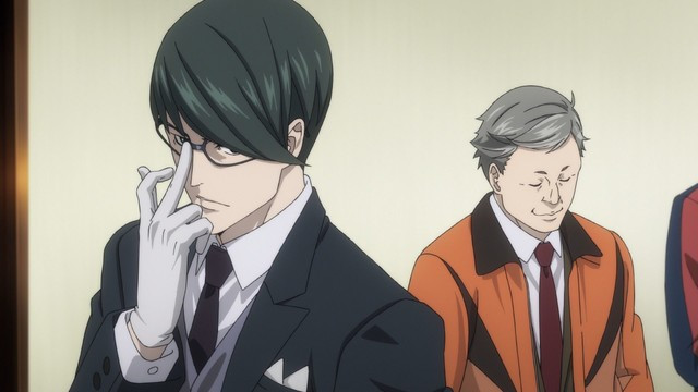 Fuyuto Kyogoku and Michel Belmont investigate a murder scene in the Kabukicho Sherlock TV anime.
