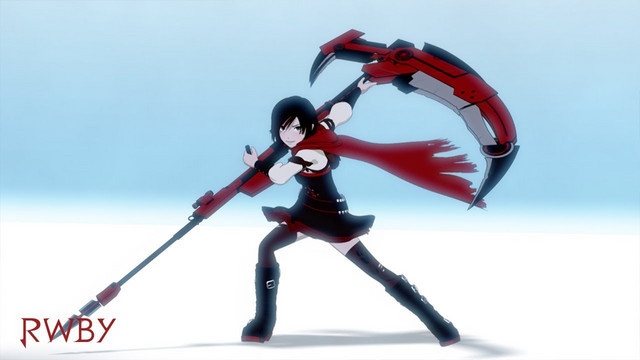 Ruby Rose prepares to deliver a walloping with her Crescent Rose scythe.