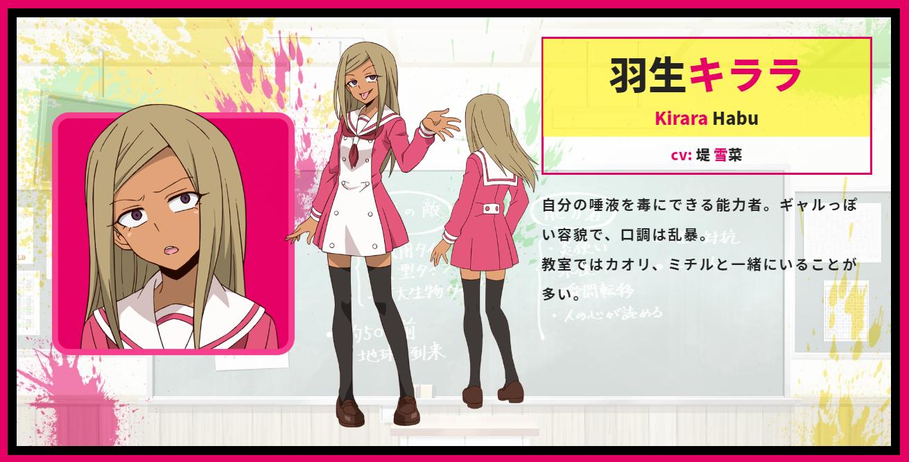 A character setting of Kirara Habu from the upcoming Talentless Nana TV anime.
