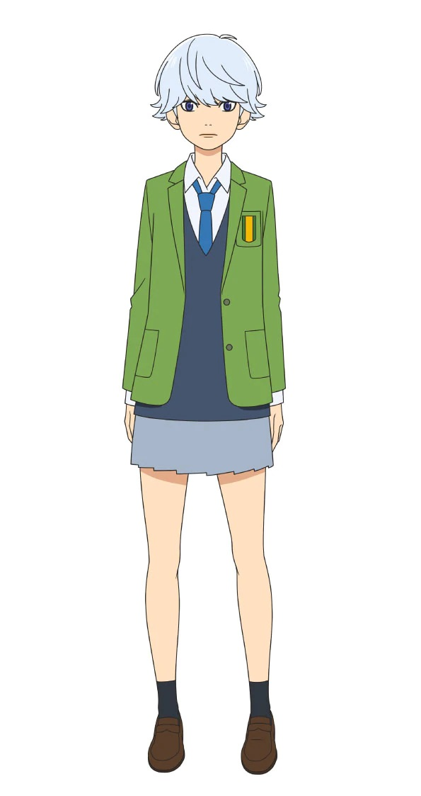 A character visual of Sumire Suou, a member of the girl's soccer club with short silver hair and a blank expression from the upcoming Farewell, My Dear Cramer.