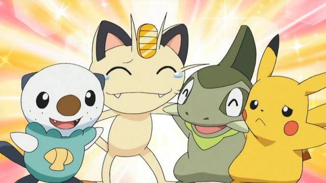 Meowth gets a group hug in Pokemon