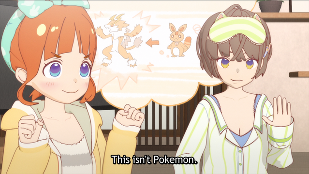 Tae Hongo and Kokoro Himote propose that relationships do not, in fact, evolve like Pokemon in a scene from HIMOTE HOUSE: A share house of super psychic girls.