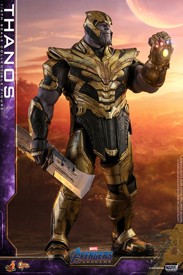 Thanos strikes a defiant pose with a sword in one hand and the Infinity Gauntlet upon the other.