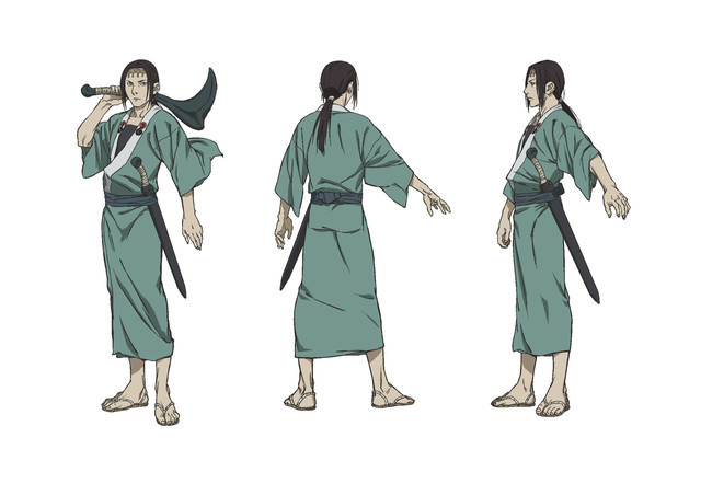 Anotsu Kagehisa, a sword master in a light green kimono with a massive iron sickle in his hand and a short sword at his waist.