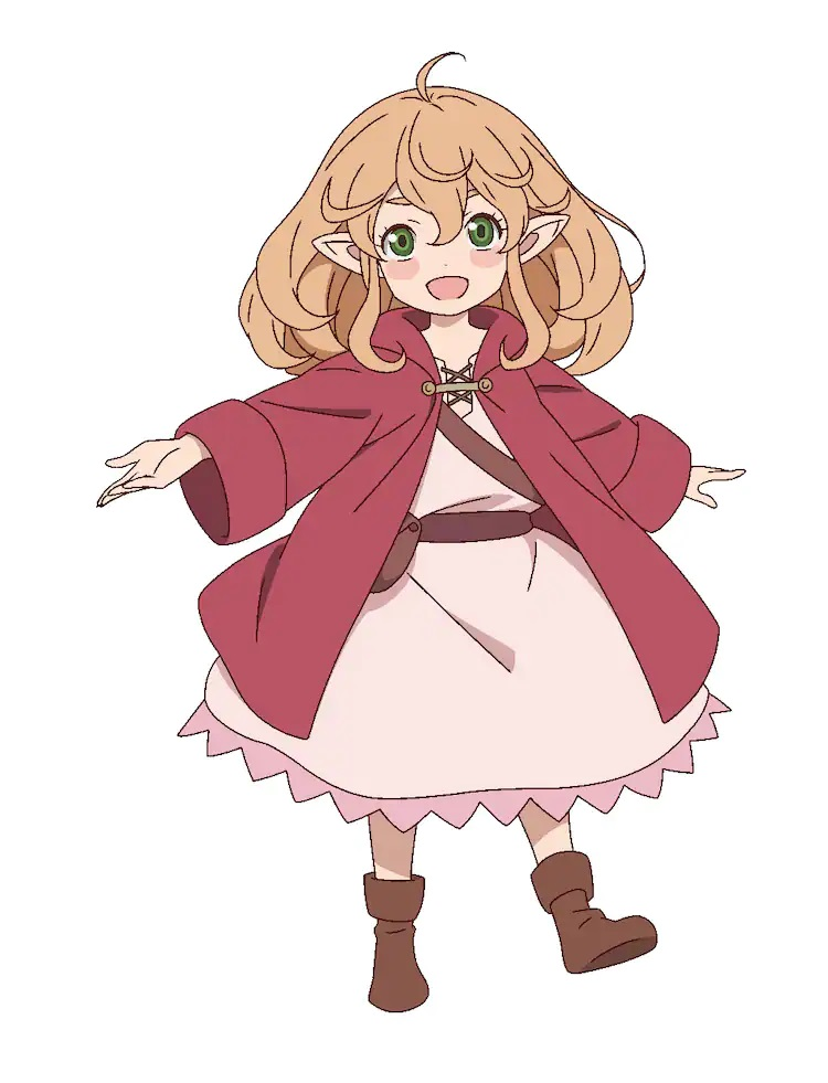 """A character setting of Robina Goodfellow, aka """"Bee"""", from the upcoming The Faraway Paladin TV anime. Bee appears as a tiny gnomish woman in the dress of a traveling merchant."""