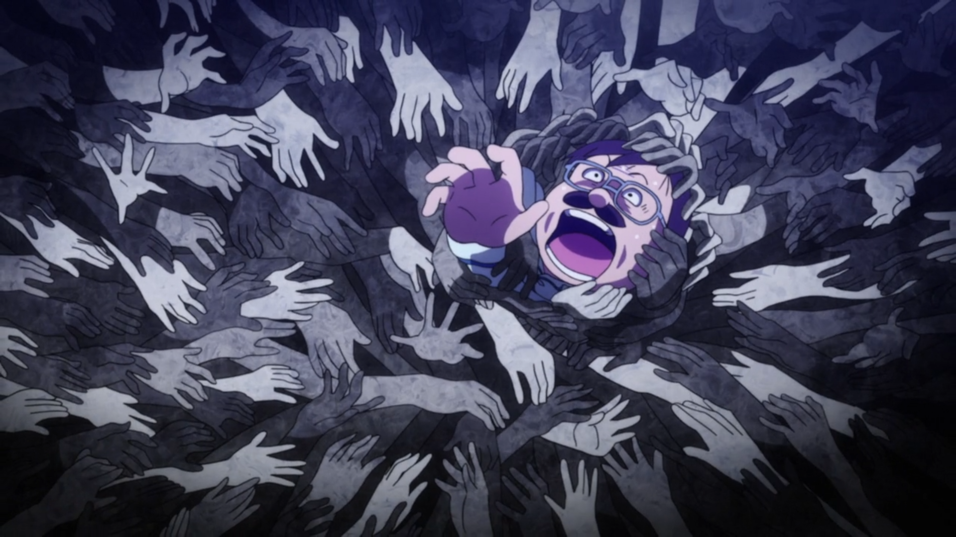 A screenwriter is engulfed in a nightmare of scrabbling hands in a scene from the 2017 The Laughing Salesman TV anime.