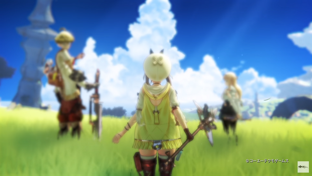 A trio of adventurers prepare to set off on a journey across a grassy plain beneath a clear blue sky.