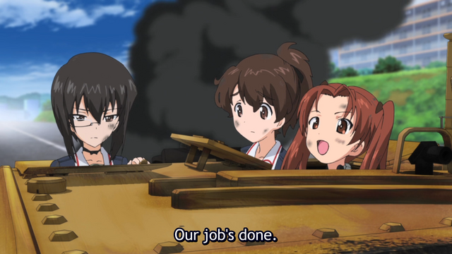The girls of Turtle Team are eliminated from the Tankery finals when their tank is disabled in a scene from the 2012 GIRLS und PANZER TV anime.