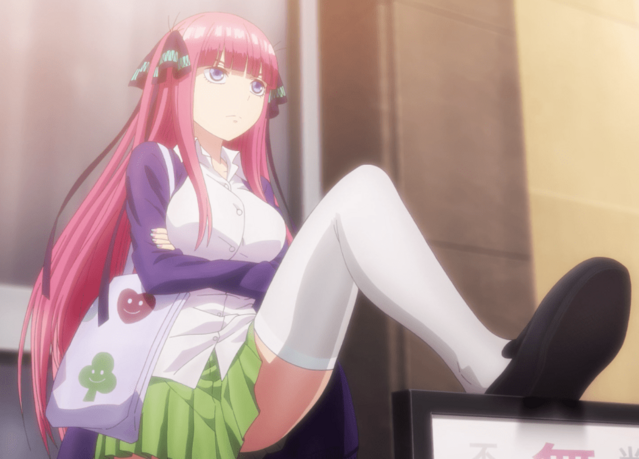 Nino Nakano, asserting her dominance in The Quintessential Quintuplets TV anime.