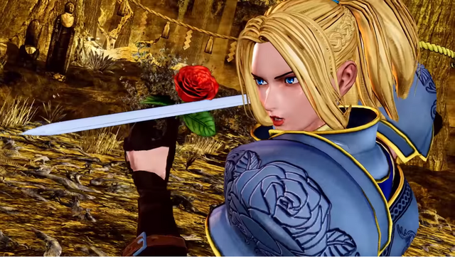 Charlotte, a blonde-haired, blue-eyed knight in full plate armor, prepares to land a killing blow with a rose in one hand and rapier in the other.
