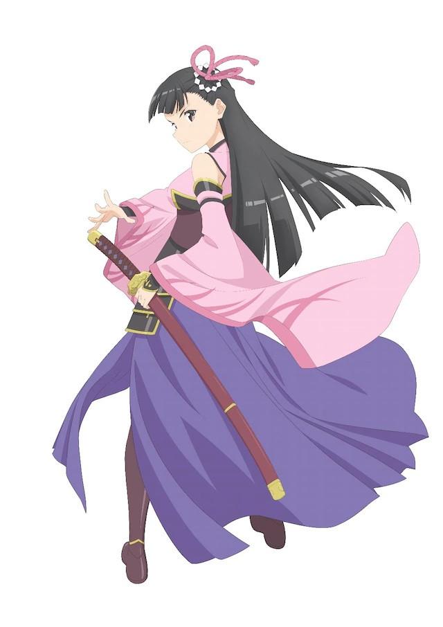 A character visual of Kasumi, a swordswoman from the upcoming Itai no wa Iya nanode Bougyoryoku ni Kyokufuri Shitai to Omoimasu. TV anime.