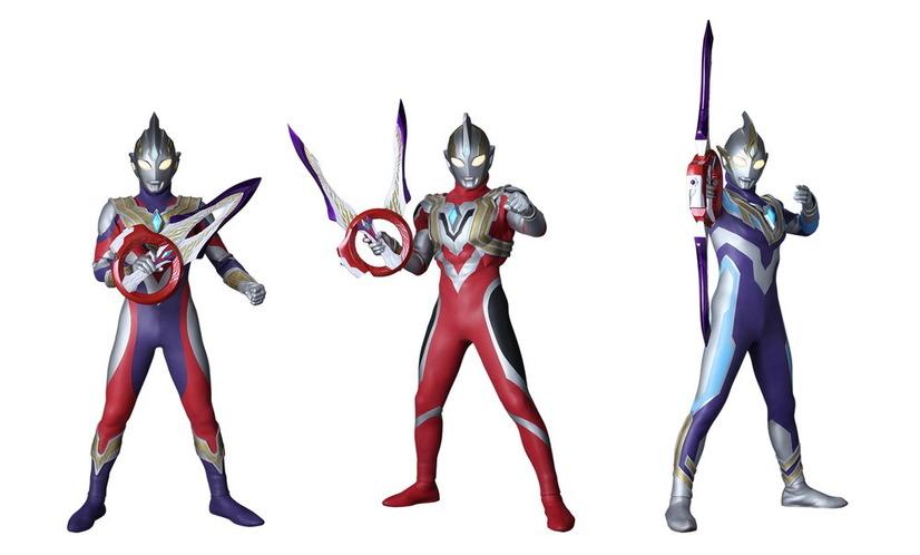 Una imagen promocional para el próximo programa de televisión Ultraman Trigger: New Generation Tiga tokusatsu, que presenta al héroe titular Ultraman Trigger en sus formas de batalla Multi Type, Power Type y Sky Type.