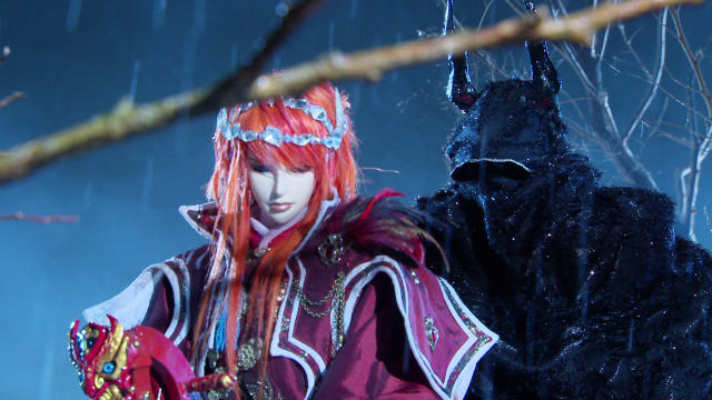 Lang Wu Yao is tormented by visions of a tragic past by a mysterious, cloaked figure with the power to travel through time in a scene from Season 3 of Thunderbolt Fantasy.