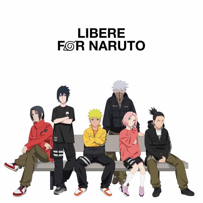Una imagen promocional para la colaboración de moda callejera LIBERE FOR NARUTO, con una ilustración de Itachi, Sasuke, Naruto, Kakashi, Sakura y Shikamaru merodeando alrededor de un banco público vestidos con ropa de calle a la moda.