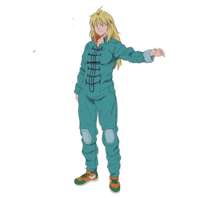 Nikaido, a blonde woman in a jumpsuit in the Dorohedoro TV anime.