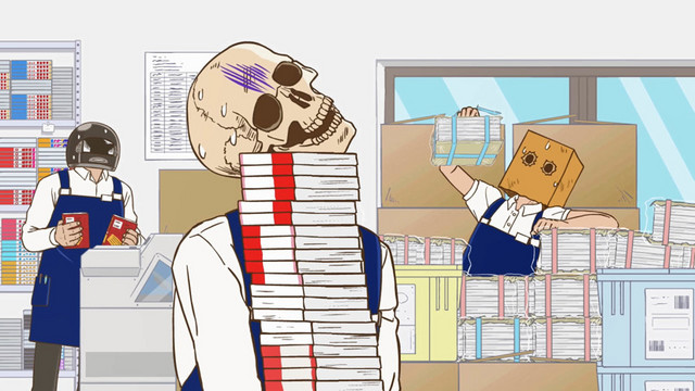 Honda and his co-workers are overwhelmed by a mountainous shipment of books in the Skull-face Bookseller Honda-san TV anime.