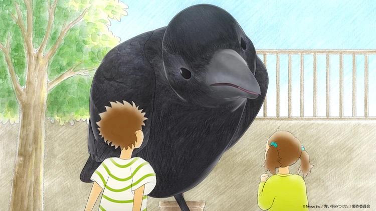 Los hermanos Hayato y Hina se encuentran con un misterioso cuervo que crece a un tamaño gigante y se ofrece a llevarlos a una aventura para descubrir al dueño de las hermosas plumas azules que encontraron en la carretera en una escena de la próxima Aoi Hane Mitsuketa.  anime web de forma corta.