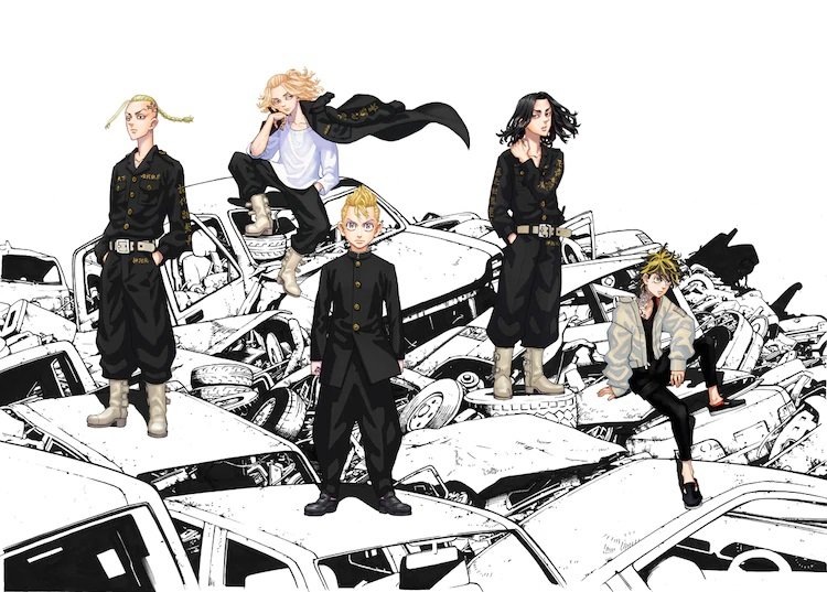 A key visual for the upcoming Tokyo Revengers TV anime, featuring the main cast of juvenile delinquents posing on a heap of scrapped cars in a junkyard.