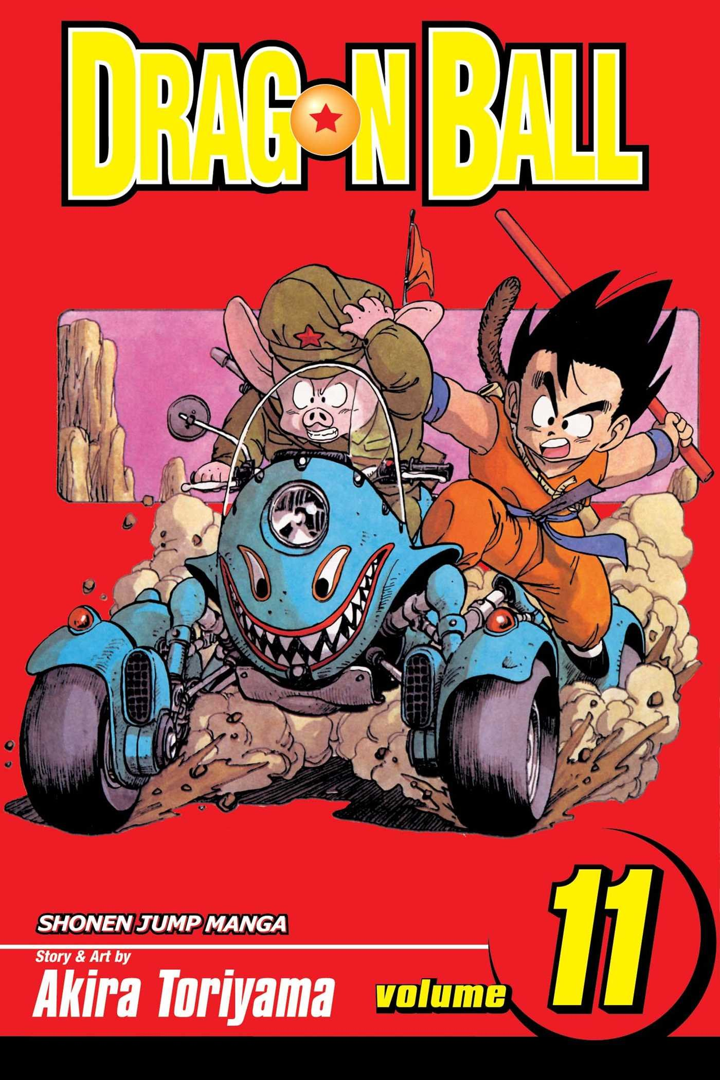 The cover of Viz's English language release of Dragon Ball Volume 11, featuring artwork by Akira Toriyama of Goku and Oolong attempting to ride an out-of-control four-wheeled motorcycle.