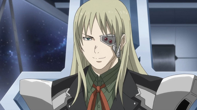 Isuzu Ichinose, a high-ranking officer in the Metus army, smirks while contemplating his evil plans.