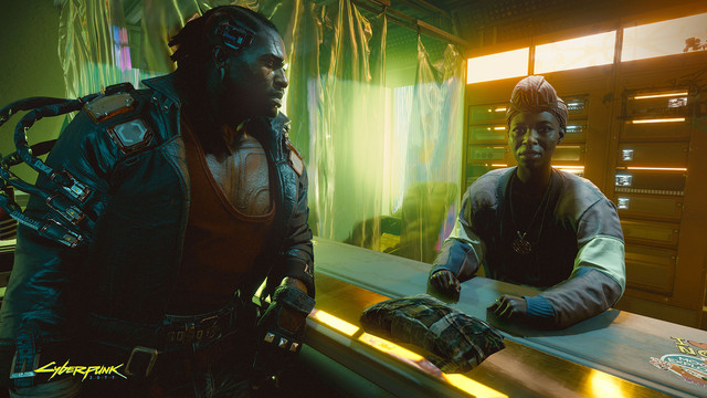 A heavily-modified street samurai works a deal at a cybernetic clinic in CD Projekt Red's upcoming video game, Cyberpunk 2077.